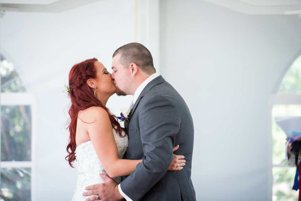 first kiss of newlyweds