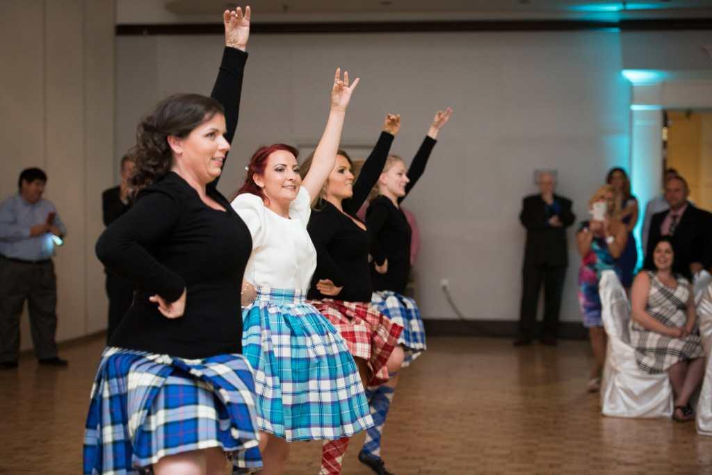 bridal party highland dancing at wedding hamilton