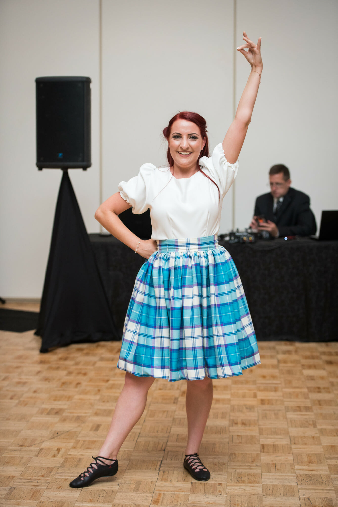 bride highland dancing during wedding reception hamilton