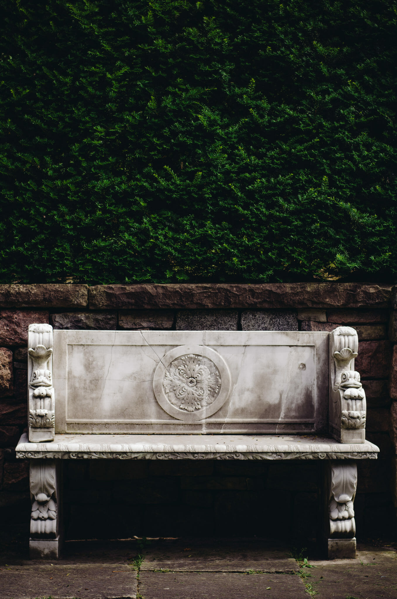 stone bench in the garden at parkwood