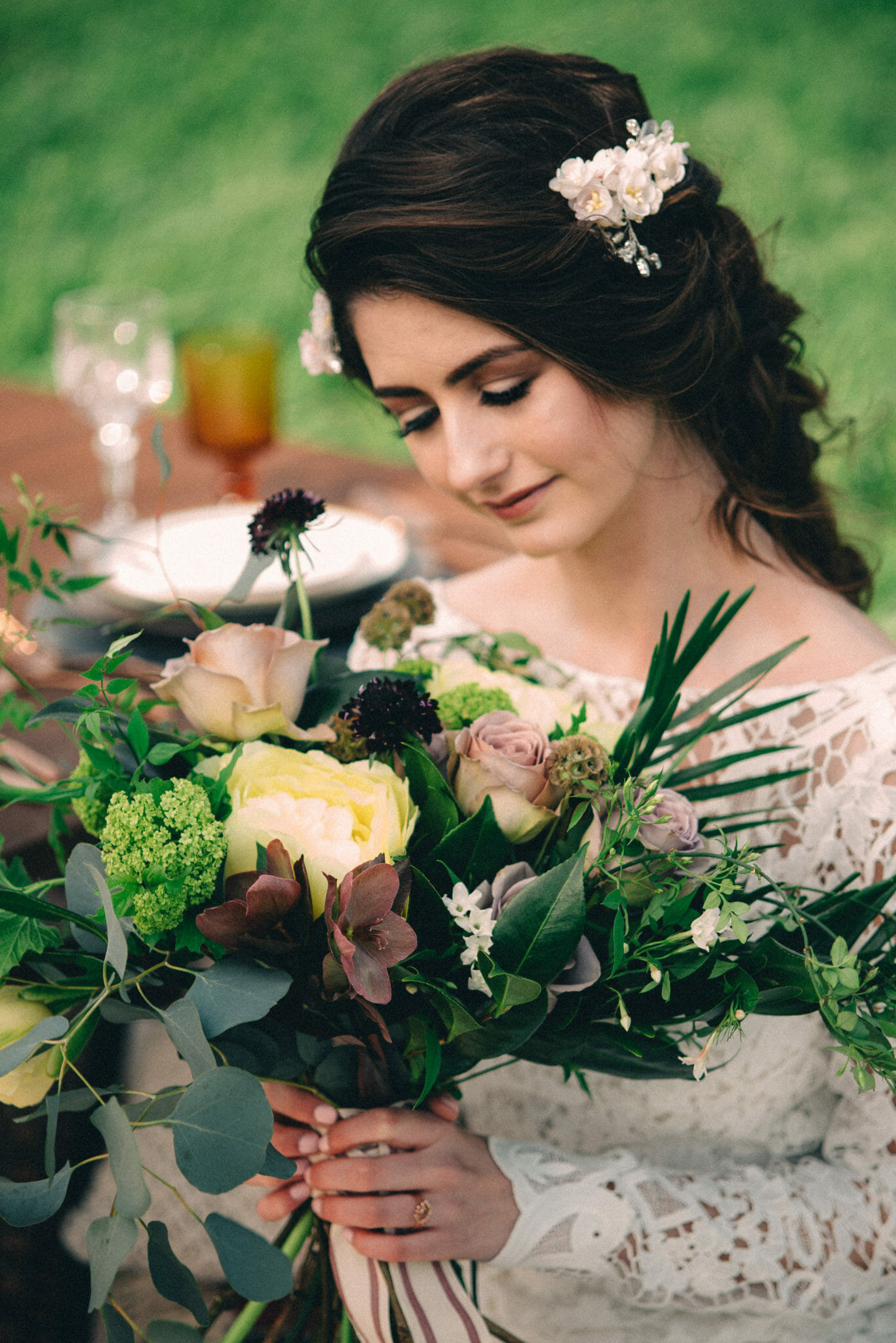 non traditional bride with cascading bouquet