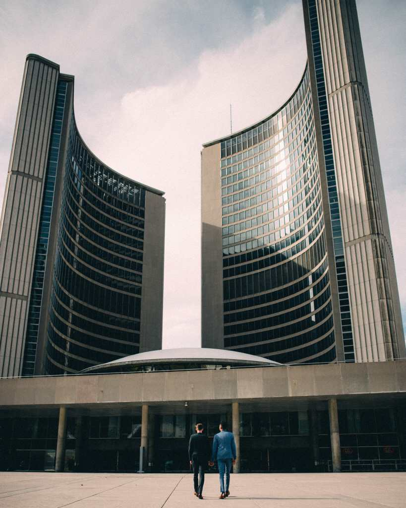 couple in front of toronto city hall