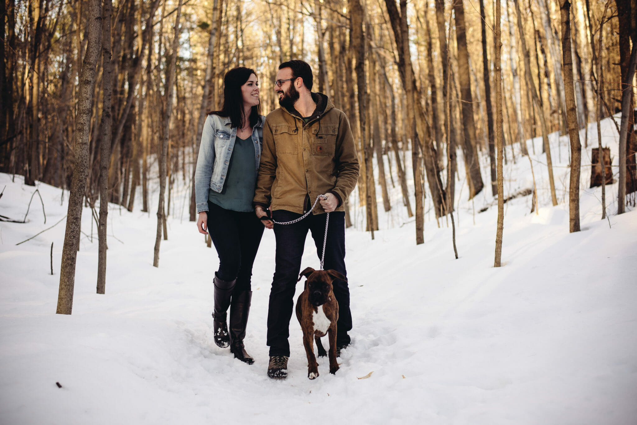 couple wintering hiking together in Bowmanville