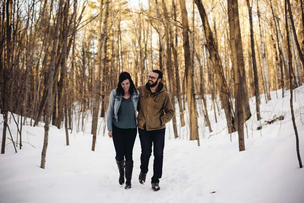 couple walking together in long sault conservation area