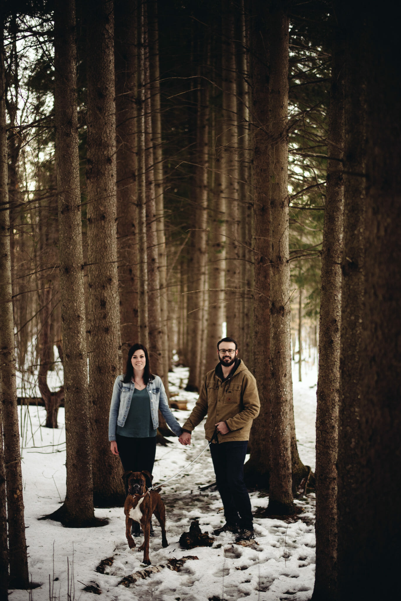couple photos with dog in forest