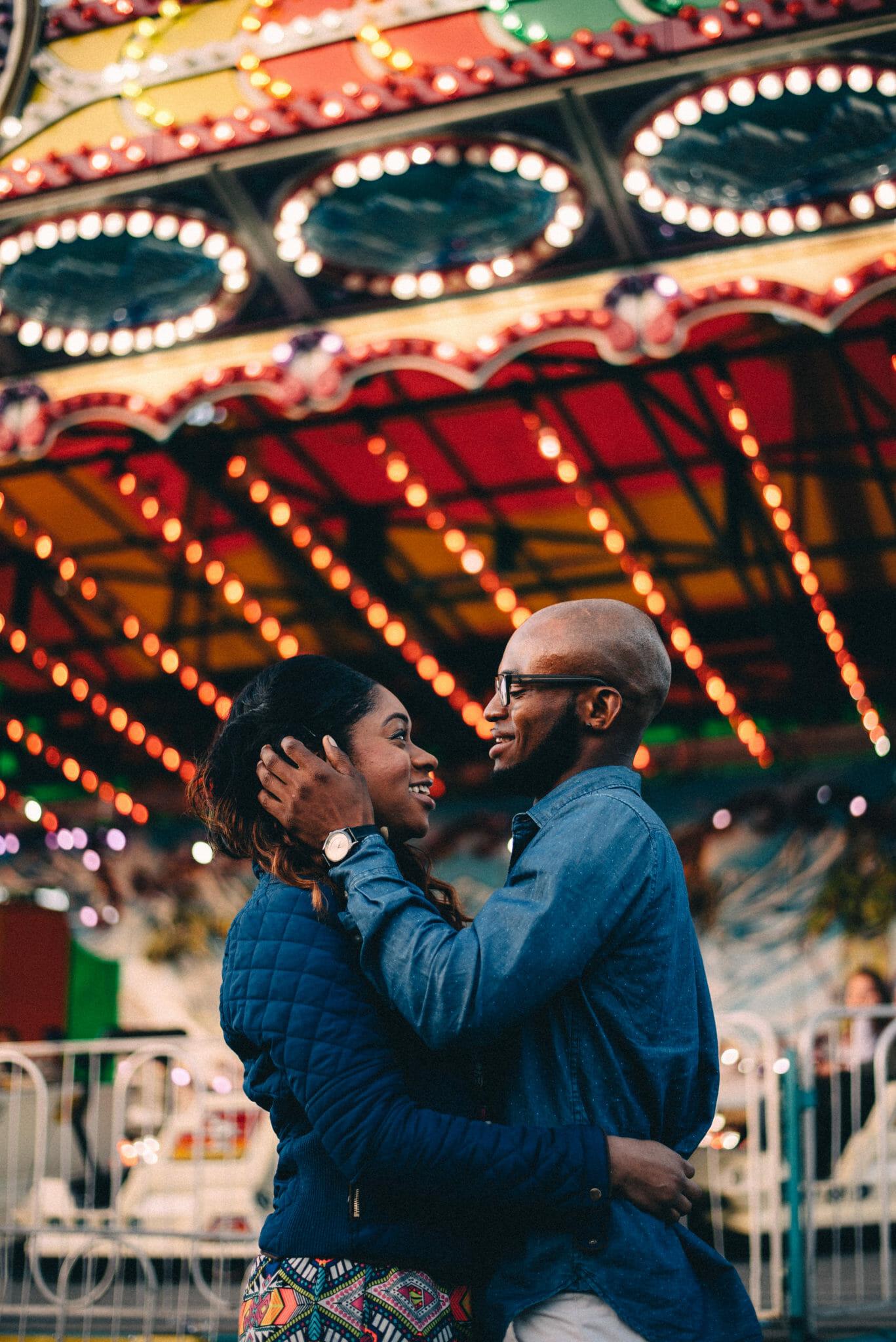 engagement photos at spring fair