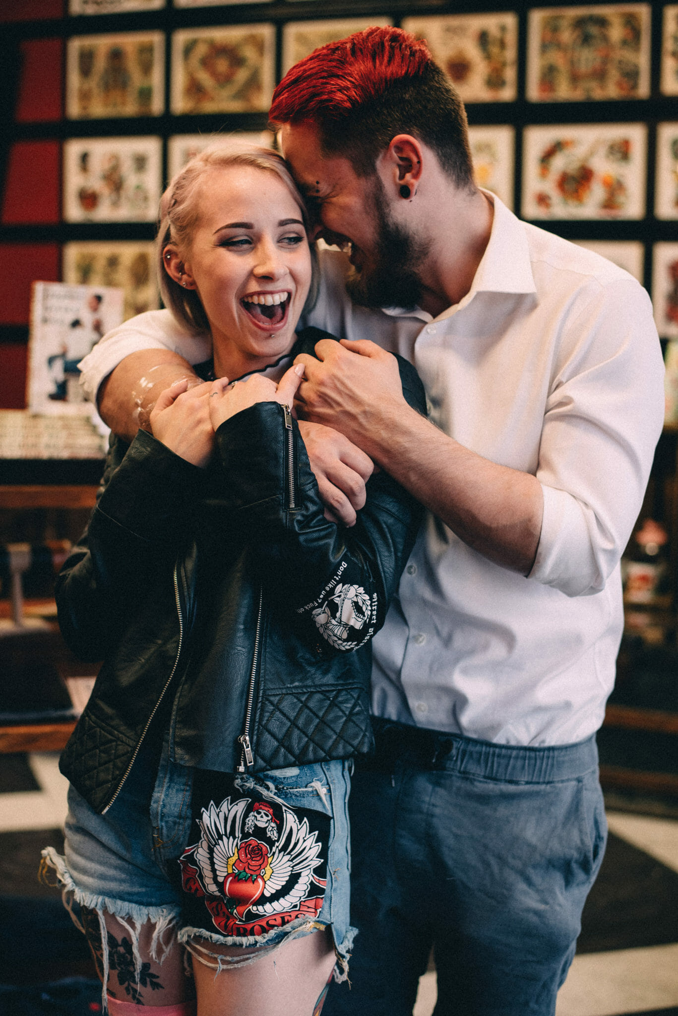 engaged couple laugh in taunton tattoo oshawa