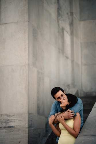 married couple hugs each other at rc water plant toronto