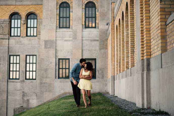 couple plays during photo shoot at rc harris water plant