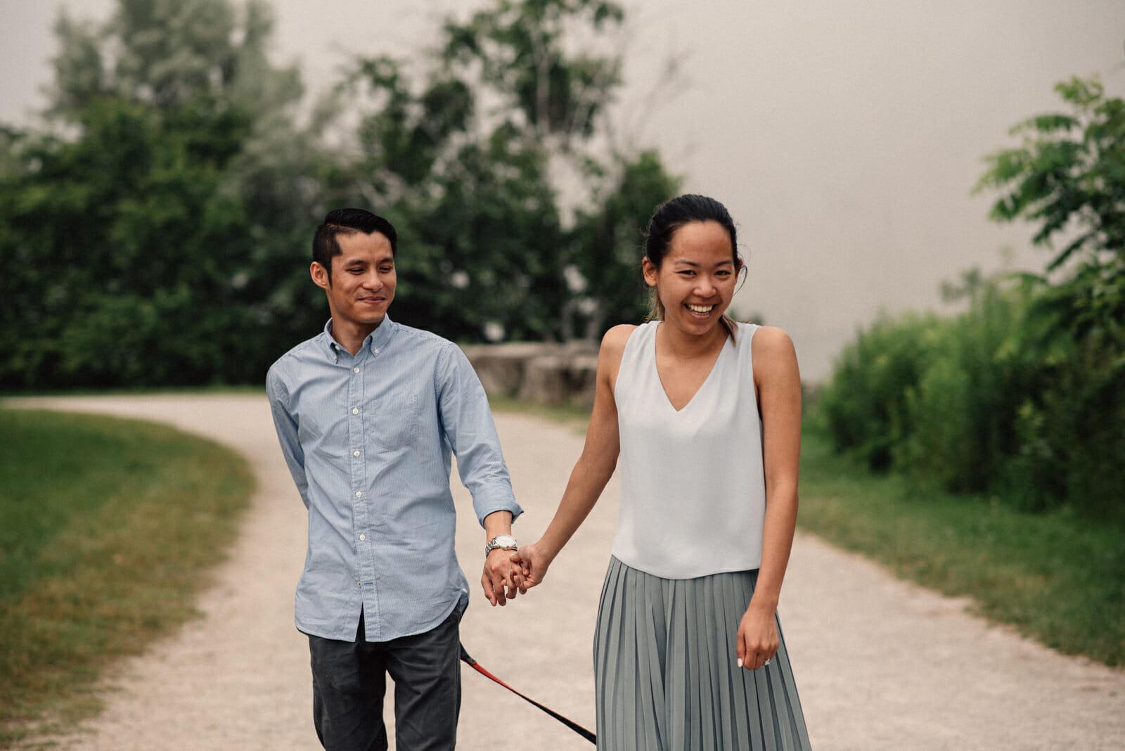 couple walking in crescent park scarborough