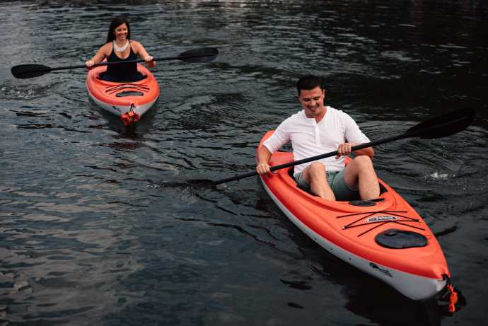 kayaking engagement photos on lake simcoe