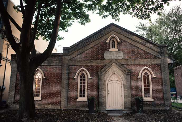 view of the front of the enoch turner schoolhouse in toronto