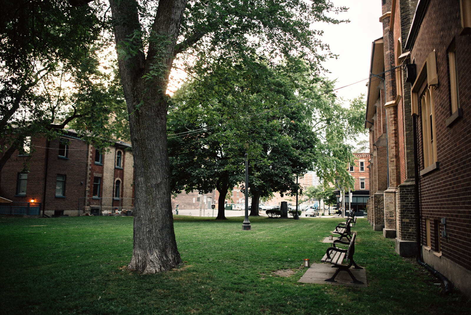 small park beside little trinity anglican church in toronto