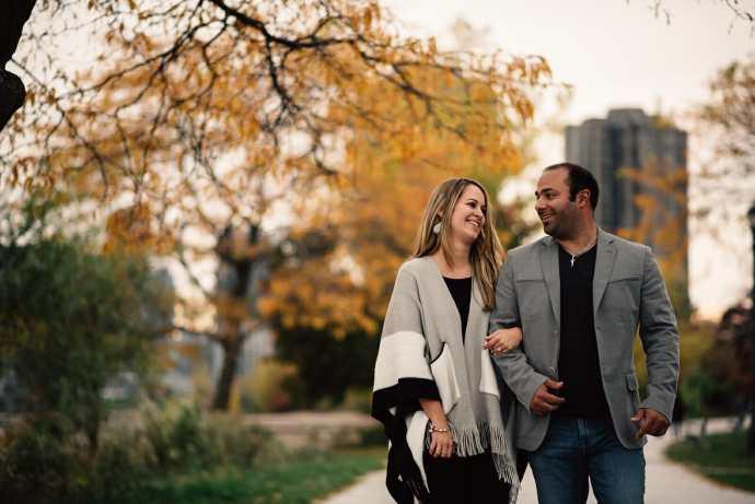 couple walk the boardwalk at humber bay park