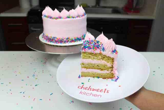 sliced vegan cake