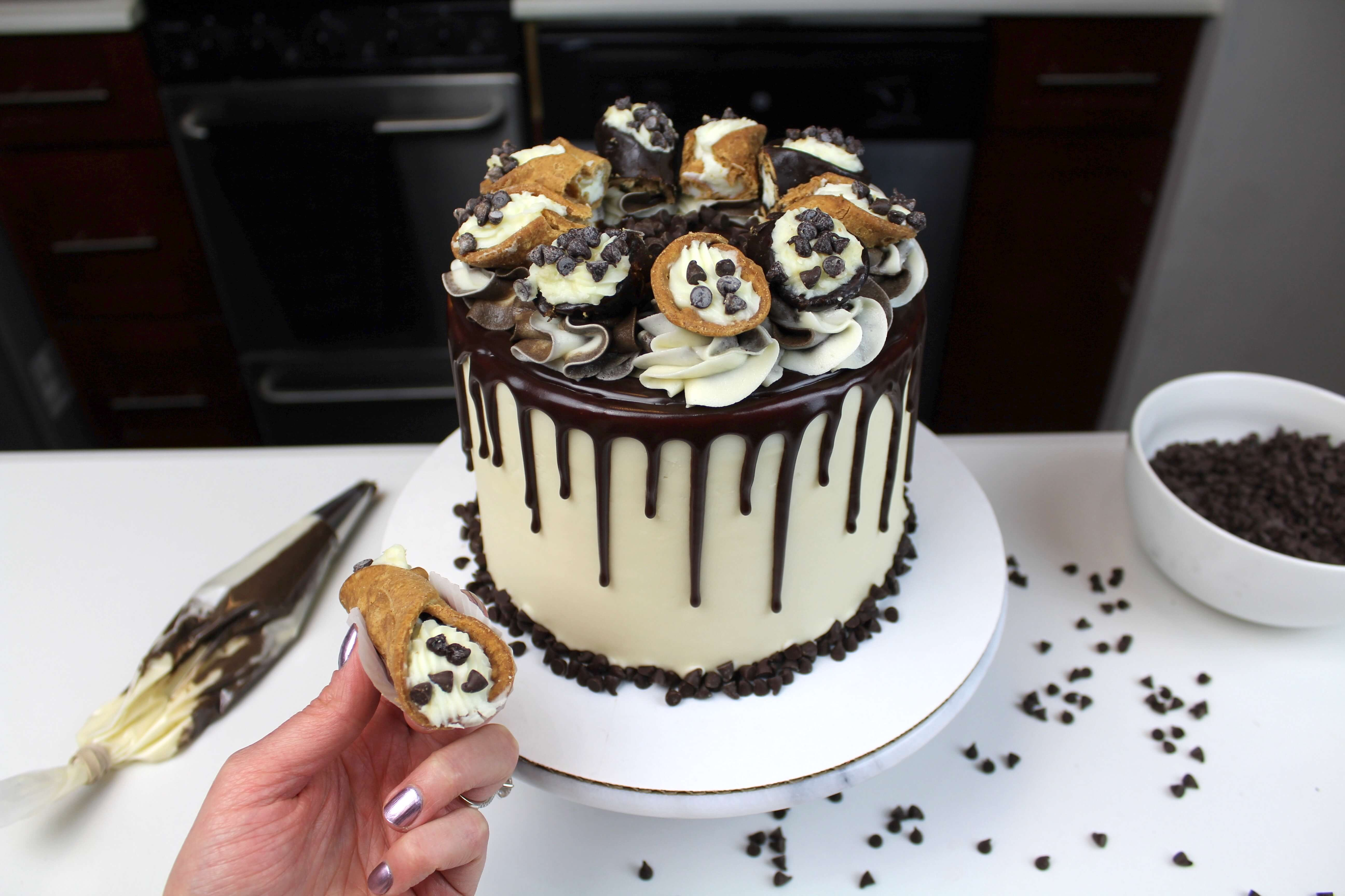 Chocolate Chip Cannoli Cake     Chelsweets Chocolate Chip Cannoli Cake