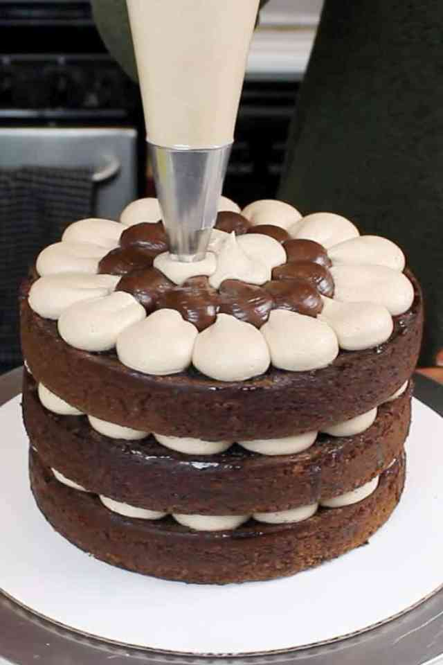 Filing my triple chocolate naked cake