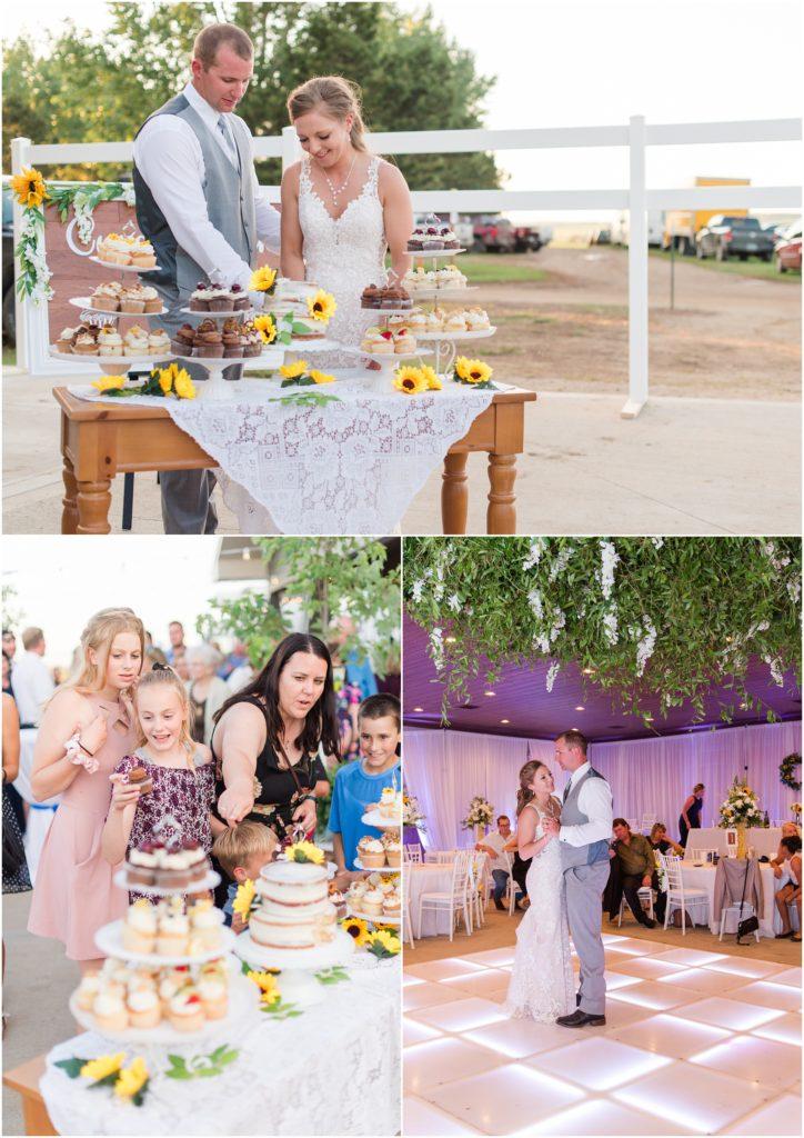 sunflower and navy wedding the links golf course north dakota cupcake bar