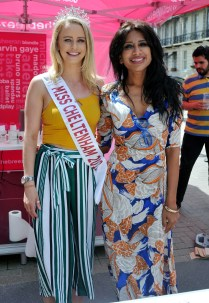 Chilli eating competition L2r Miss Cheltenham Katy Van Hemelryk with event Winner Shahina Waseem, also know as the UK Chilli Queen picture by Mikal Ludlow Photography