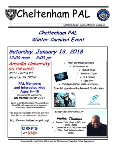 PLEASE SUPPORT THE CHELTENHAM PAL WINTER CARNIVAL EVENT THIS SATURDAY