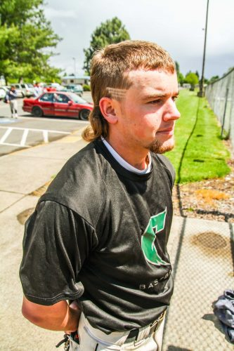 Brian Middleton, a Storm sophomore southpaw pitcher, with his trademark mullet.