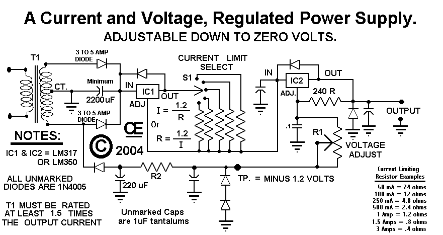 Power Supply, Adjustable Current And Voltage