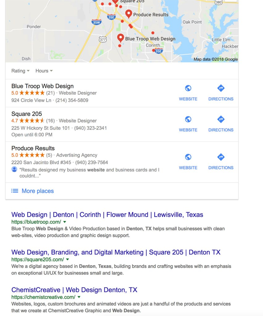 Page One Ranking on Google