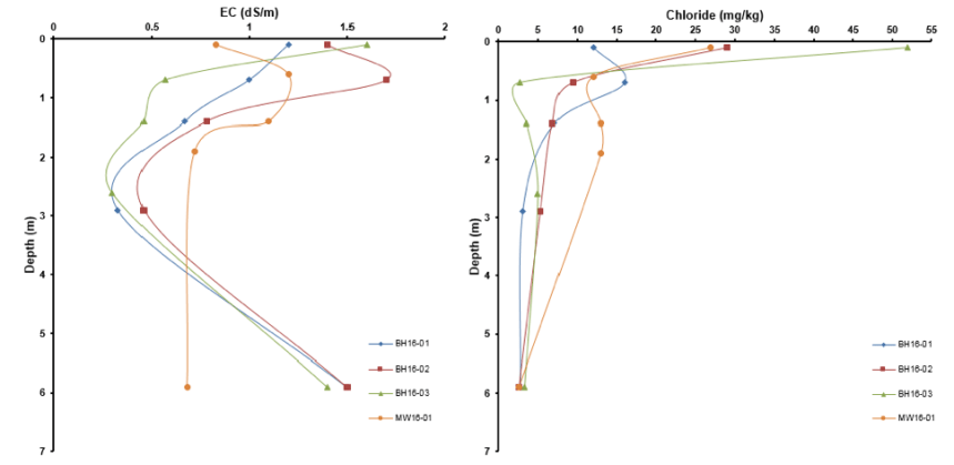 Salt Figure 3: Example Background EC and Chloride Profiles Used For Background Characterization via the SST