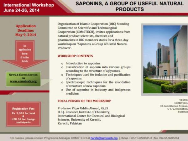 International Workshop on Saponins, A Group of Useful Natural Products