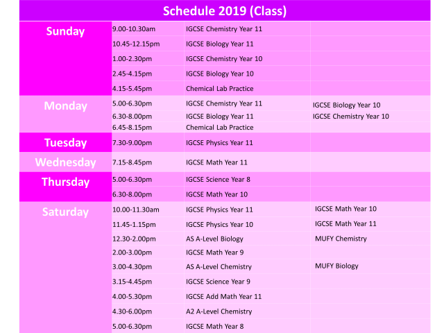 A-level Tuition Timetable 2019