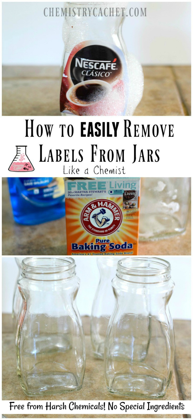 How to Remove Labels from Jars the Easy Way! No special ingredients needed and it only takes two steps on chemistrycachet.com