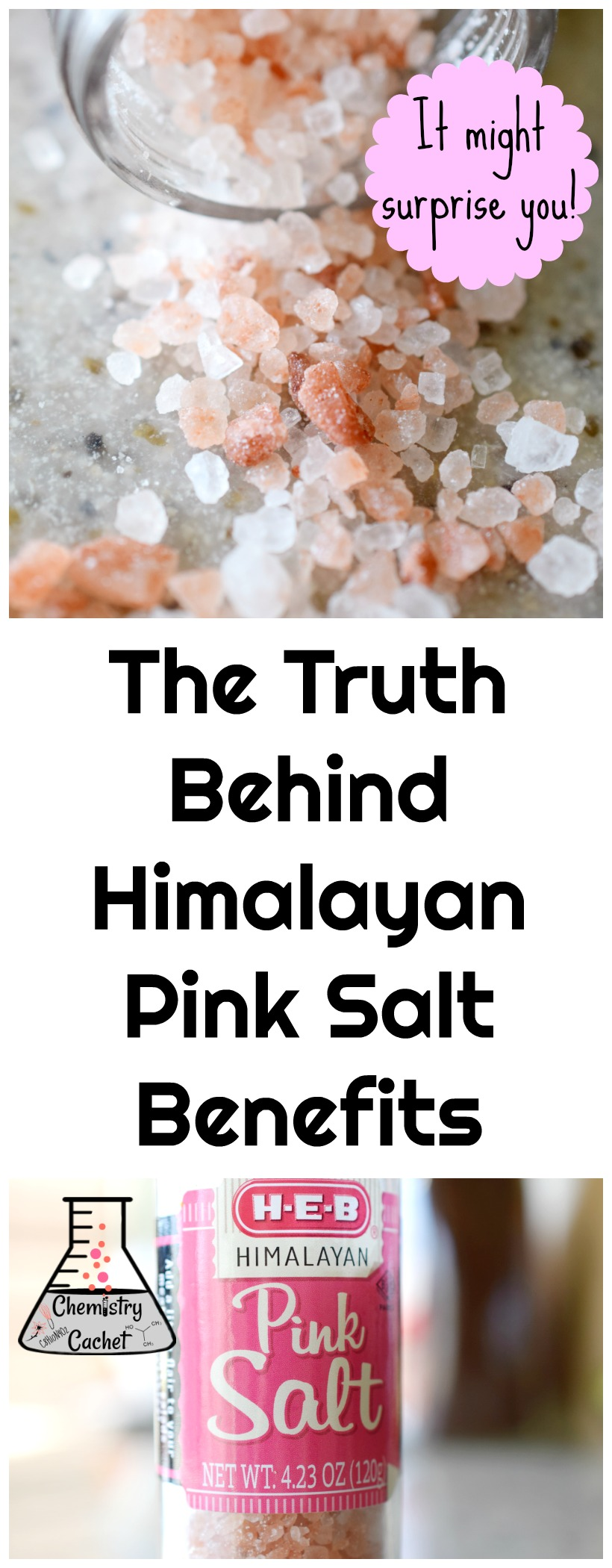 The Truth Behind Himalayan Pink Salt Benefits. This might surprise you! Most people think it's good for you, but is it on chemistrycachet.com #pinksalt #himalayanpinksalt