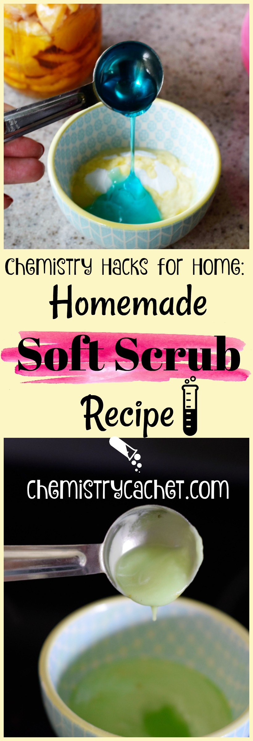 Chemistry Hacks for the Home Homemade Soft Scrub Recipe. Very effective for cleaning and better than store-bought on chemistrycachet.com
