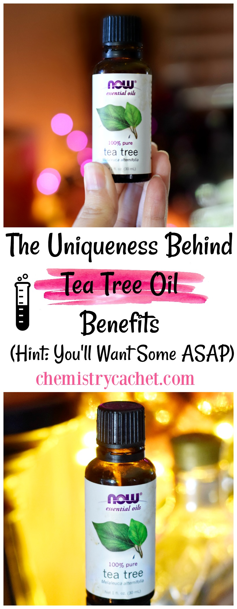Do you know the truth about tea tree oil Check out The Uniqueness Behind Tea Tree Oil Benefits (Hint You'll Want Some ASAP)! on chemistrycachet.com #teatreeoil #teatreeoilbenefits #chemistry