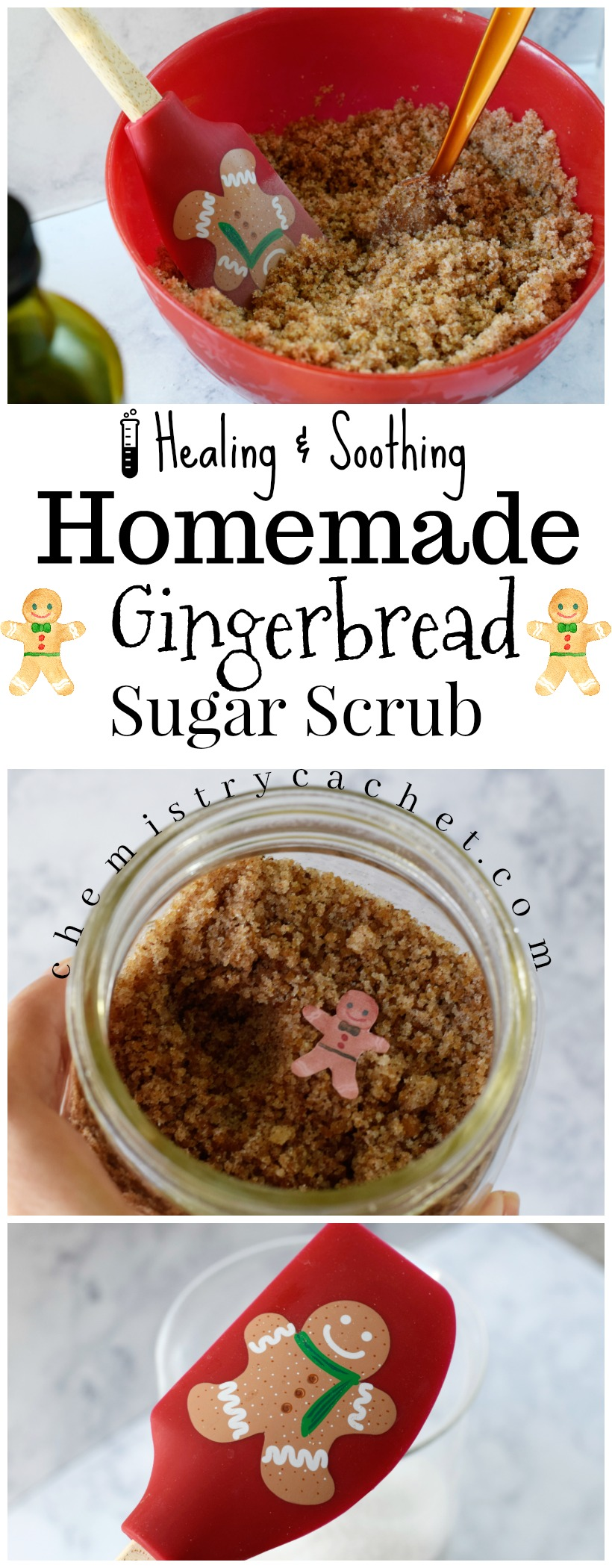 Healing, Soothing Homemade Gingerbread Sugar Scrub perfect for gifts! Not your typical sugar scrub either! on chemistrycachet.com #gingerbreadscrub #homemadesugarscrub