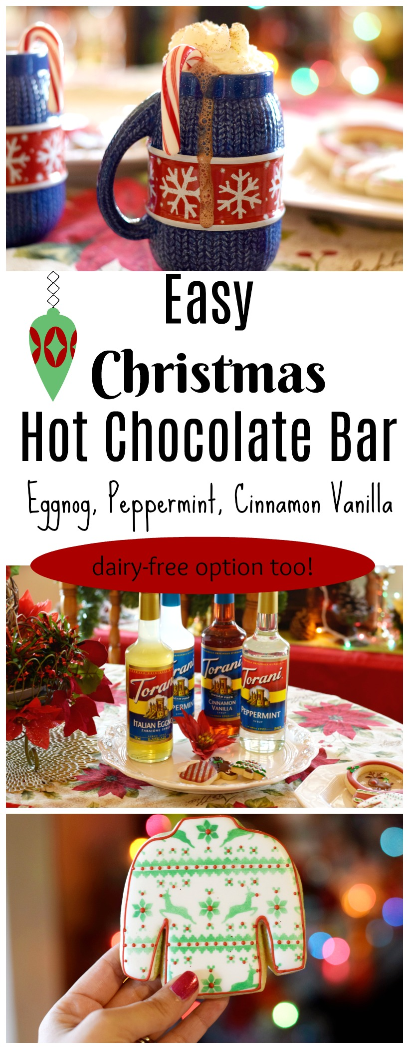 easy Christmas Hot Chocolate Bar with different flavor options! Plus dairy-free option too on chemistrycachet.com