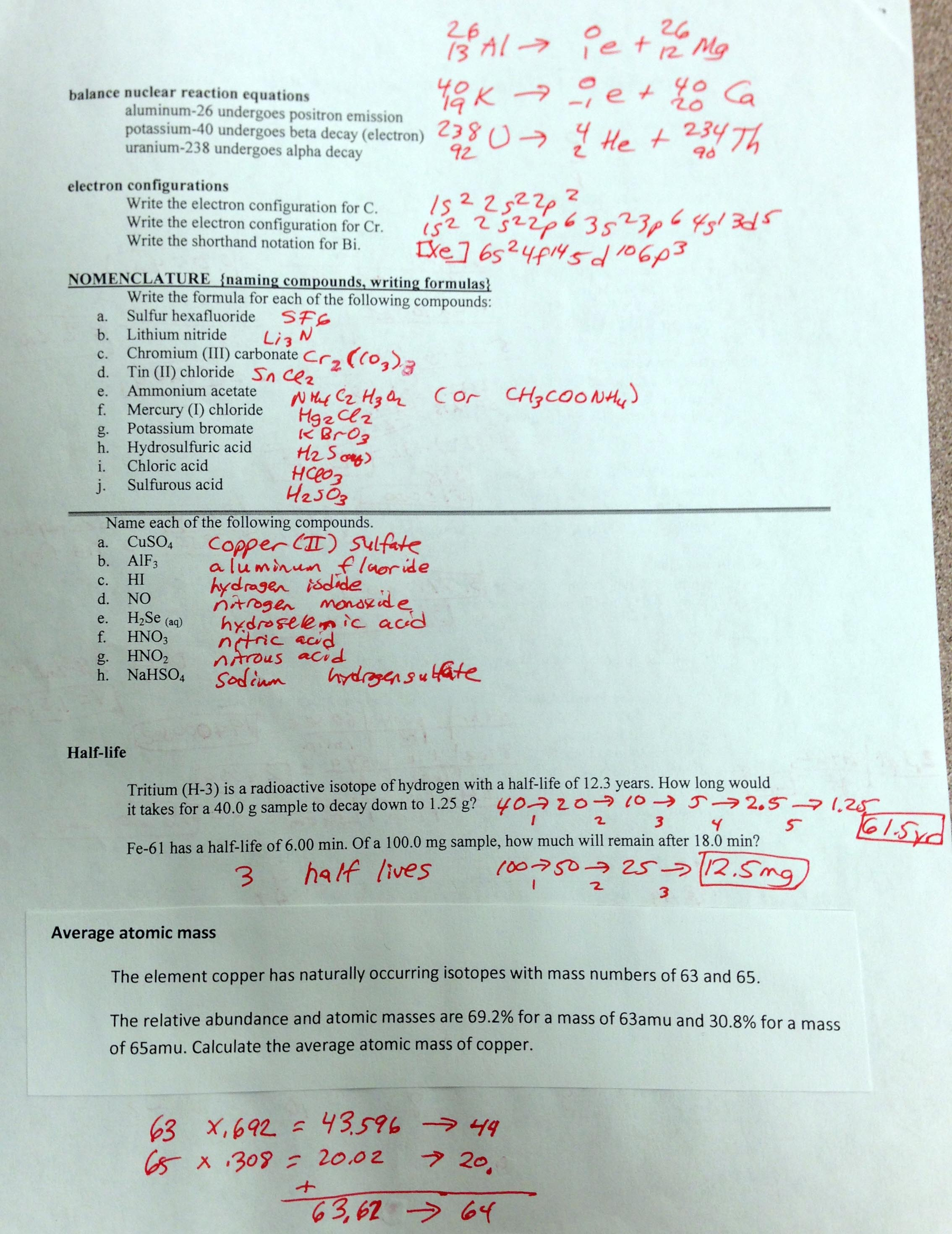 5 Chemistry Worksheet Quizlet