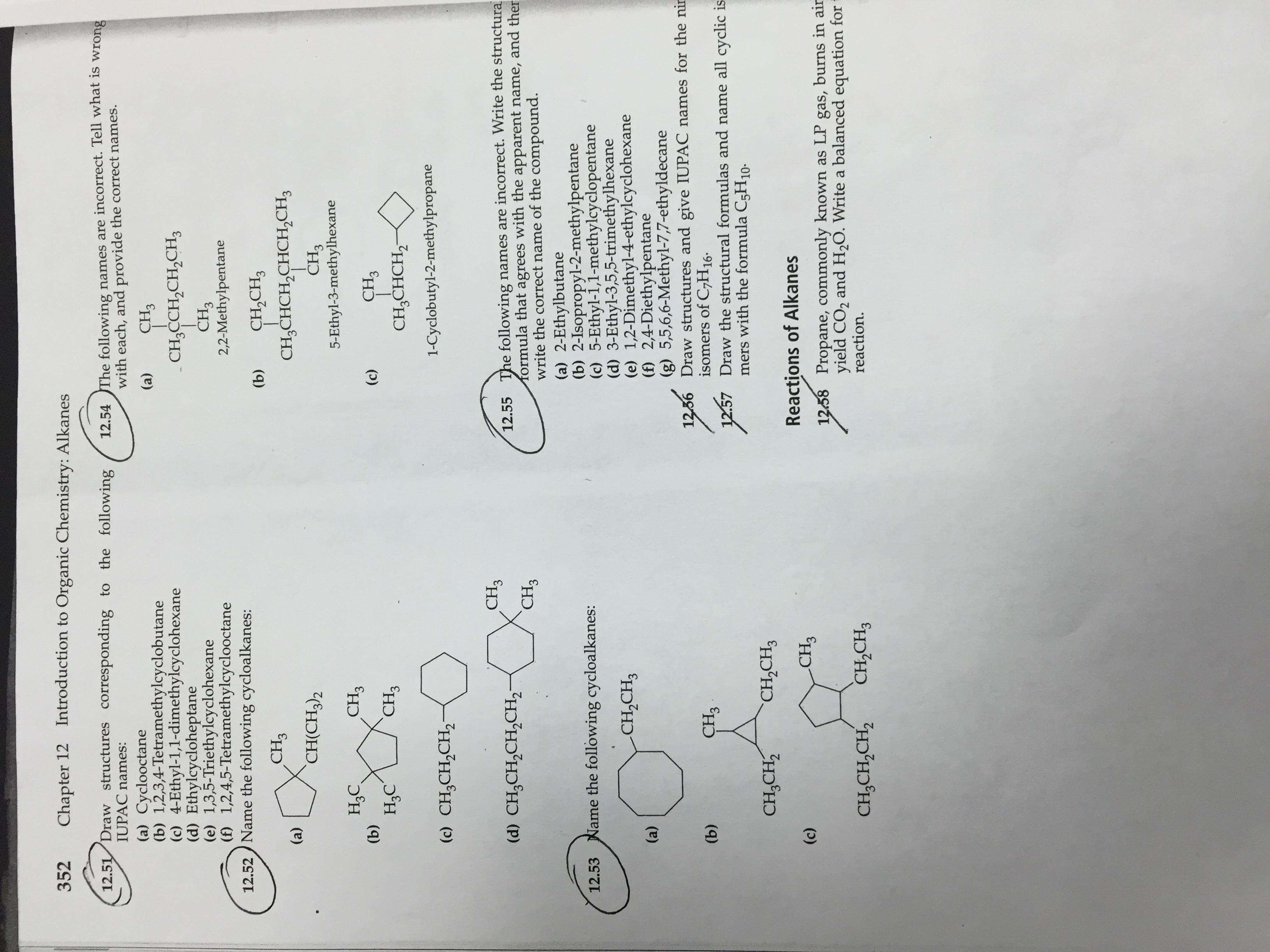 Organic Chemistry Help Alkanes