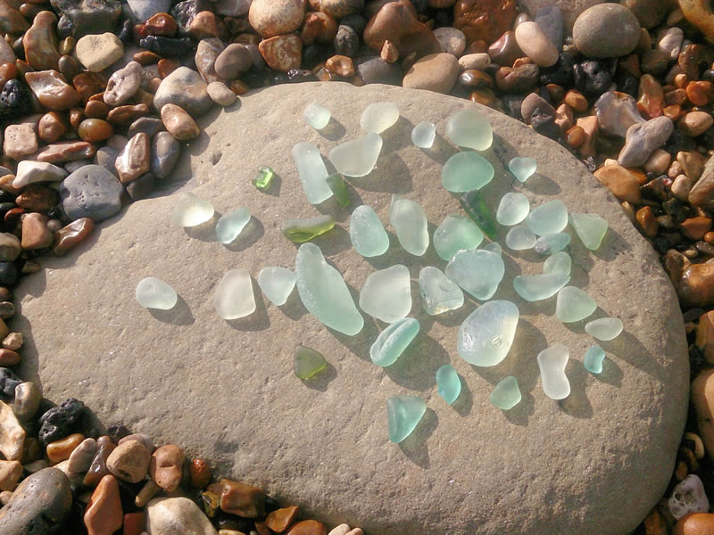 Seaham seaglass, washed up remnants from the old glassworks