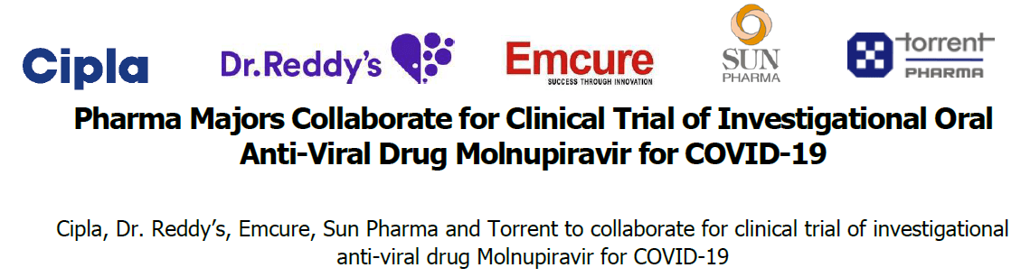Cipla, Dr. Reddy's, Emcure, Sun Pharma and Torrent to collaborate for clinical trial of investigational anti-viral drug Molnupiravir for COVID-19