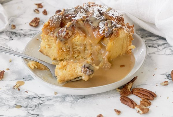 Eggnog Bread Pudding Recipe with Easy Brown Butter Rum Sauce | Chenée Today