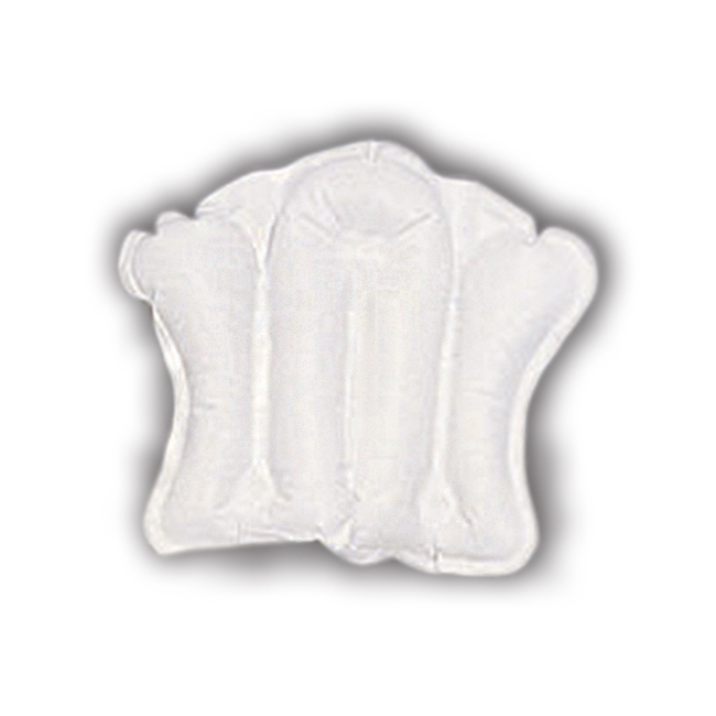 Inflatable pillow with suction cups for bathtub use