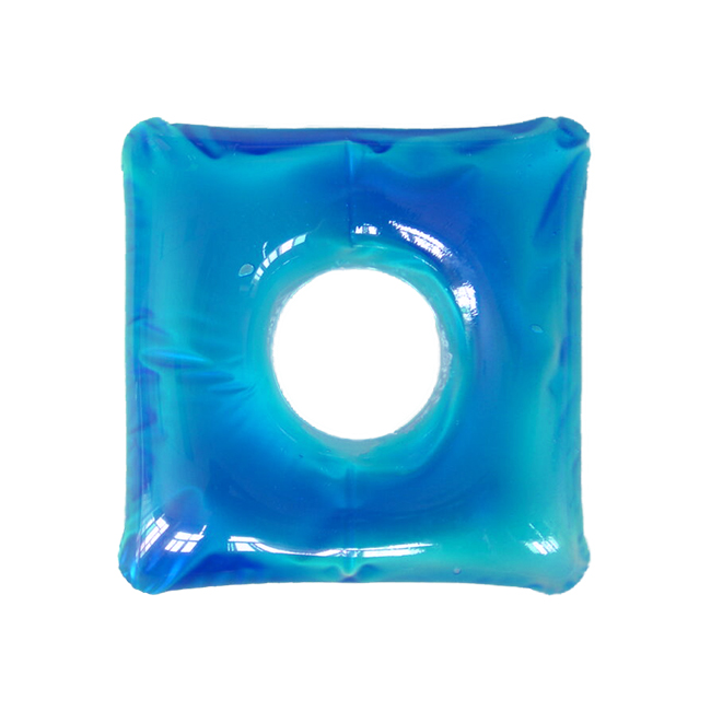 Inflatable cushion for people suffers from hemorrhoids. Holes at the center prevent pressures applied to butt when sitting down. The gel provides soothing and cooling effect, especially perfect during summer time.