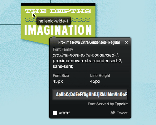 WhatFont Tool in action