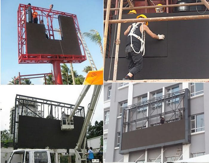 Outdoor LED billboard installation