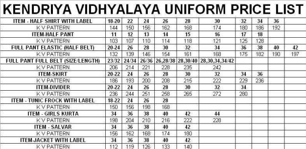 Uniform Price list - Readymade for Kendriya Vidhyalaya