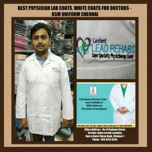 White lab coat for physiotherapist in Chennai- RSM Uniforms Chennai