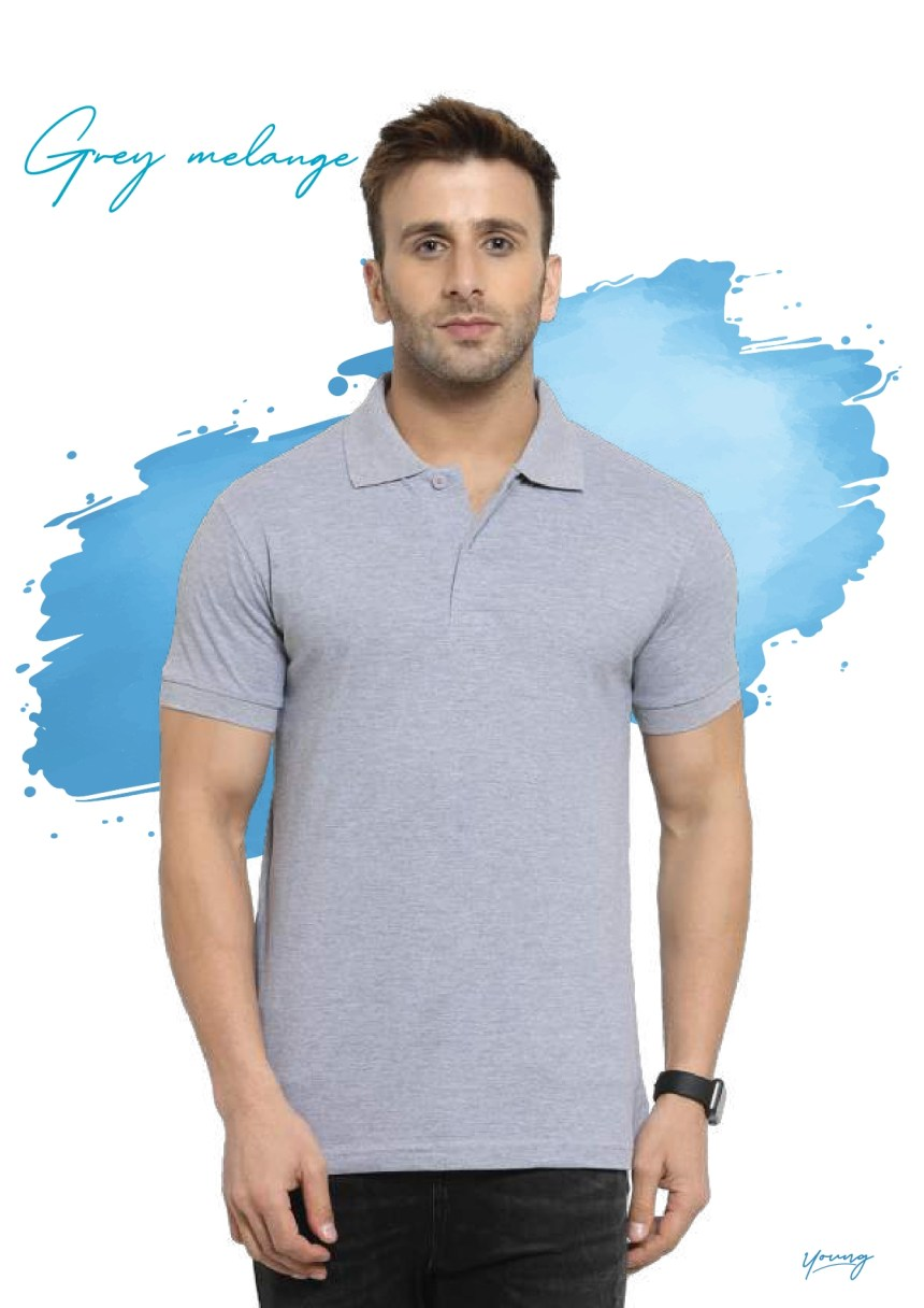 Scott young grey melange t-shirt in Chennai- Rsm Uniform Chennai