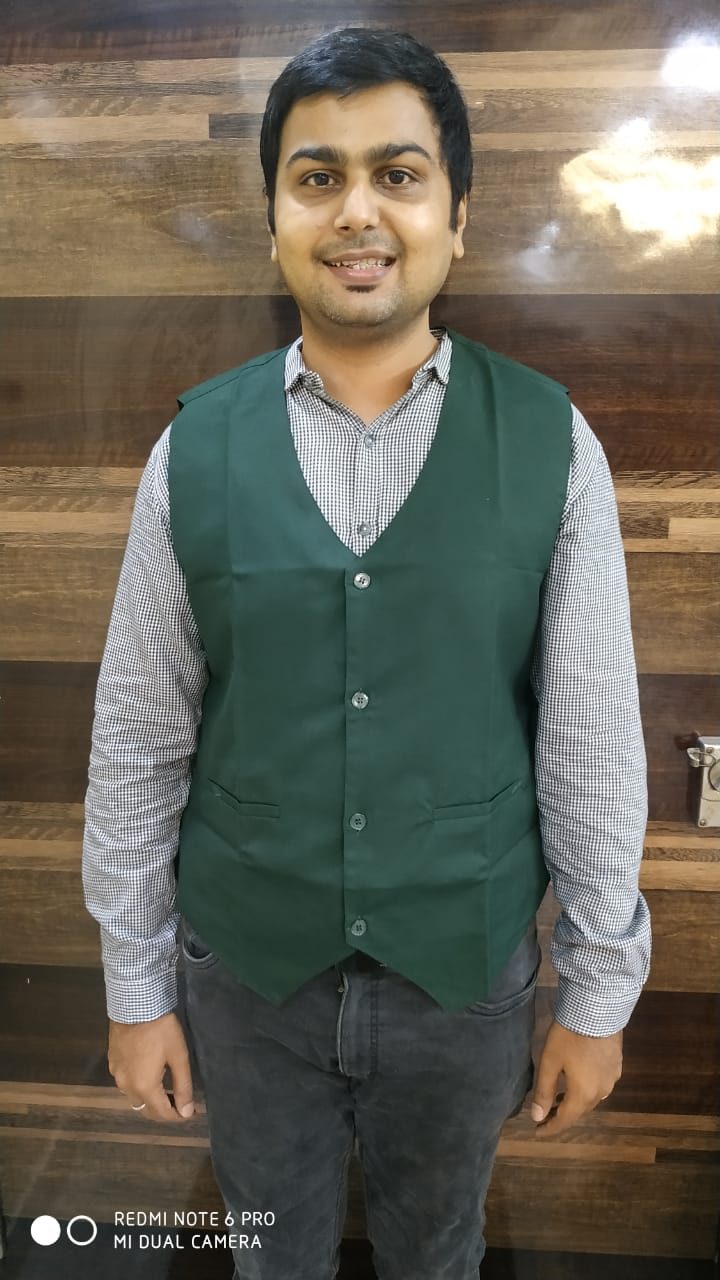 Waist coat-bottle green