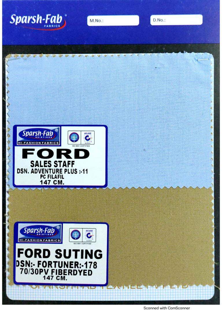 Ford motos sales staff uniforms in India